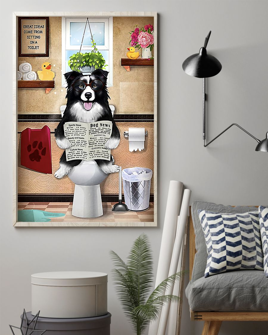 great ideas border collie sitting on toilet poster 2