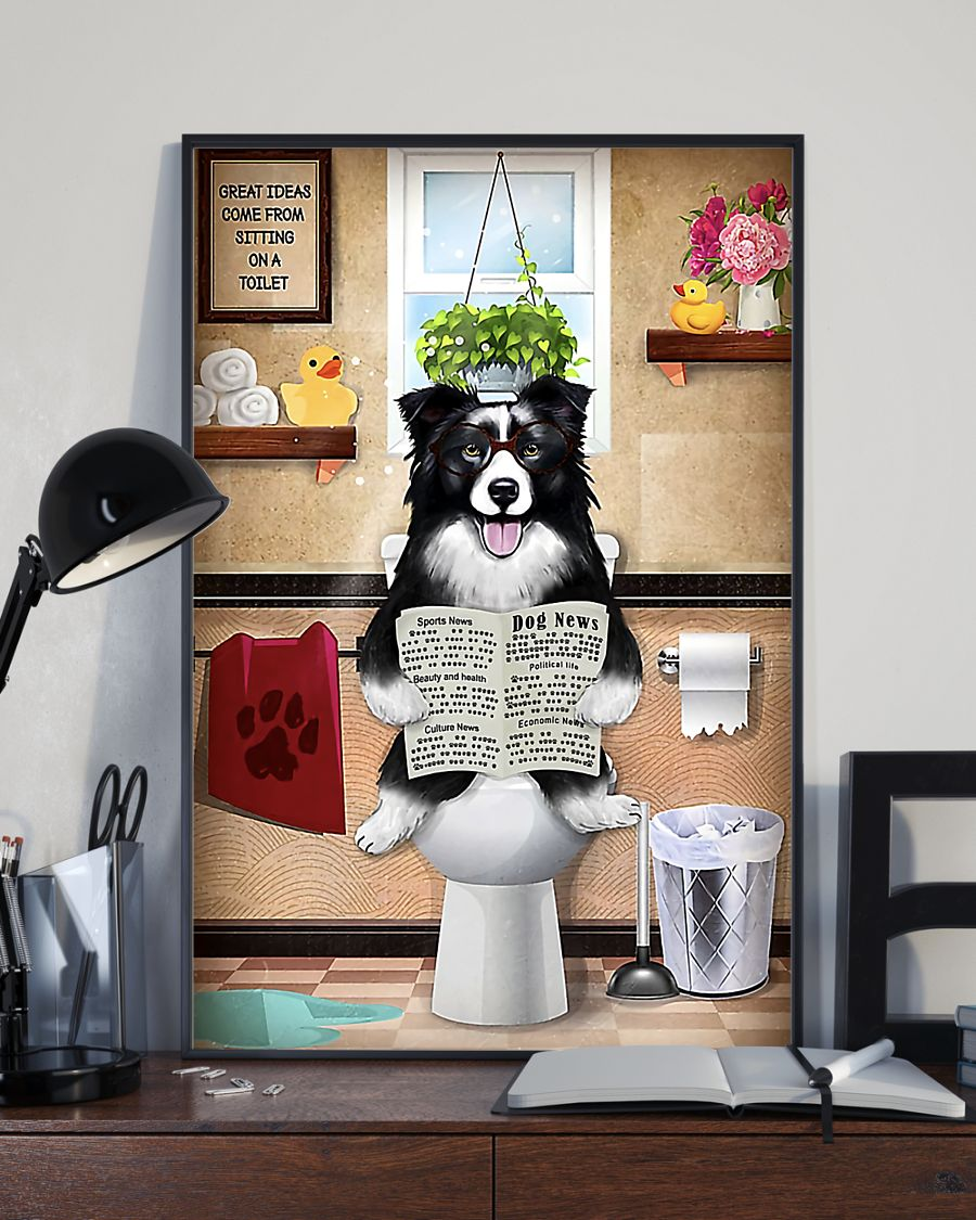 great ideas border collie sitting on toilet poster 4