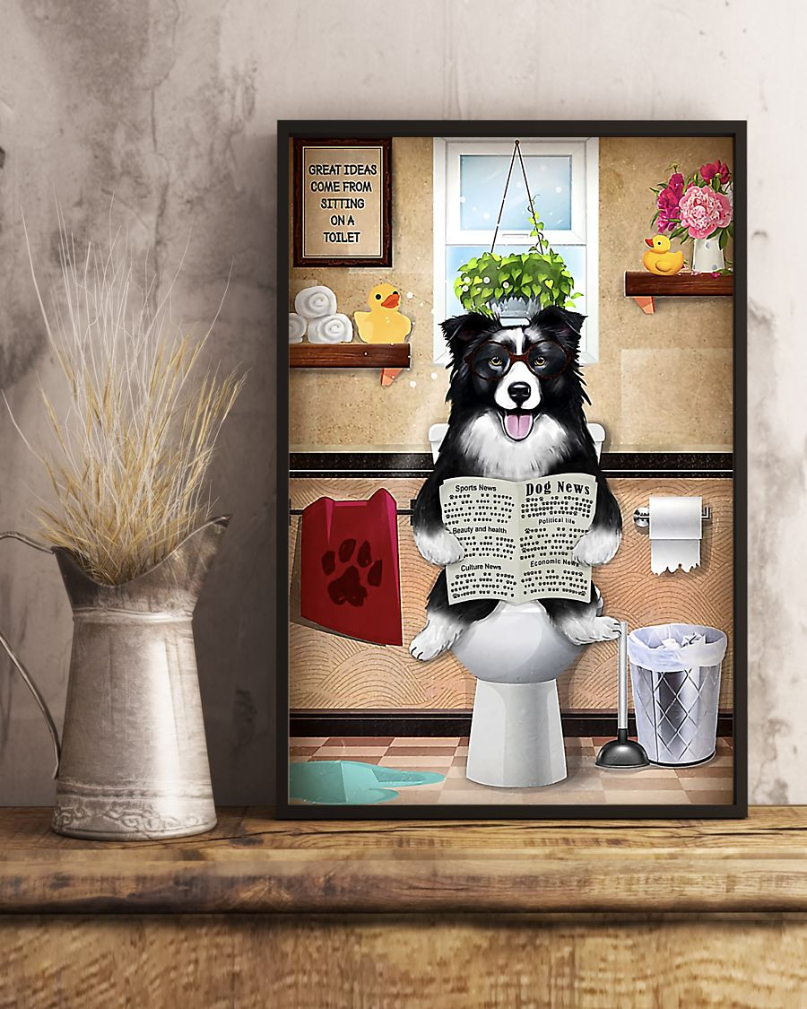 great ideas border collie sitting on toilet poster 5