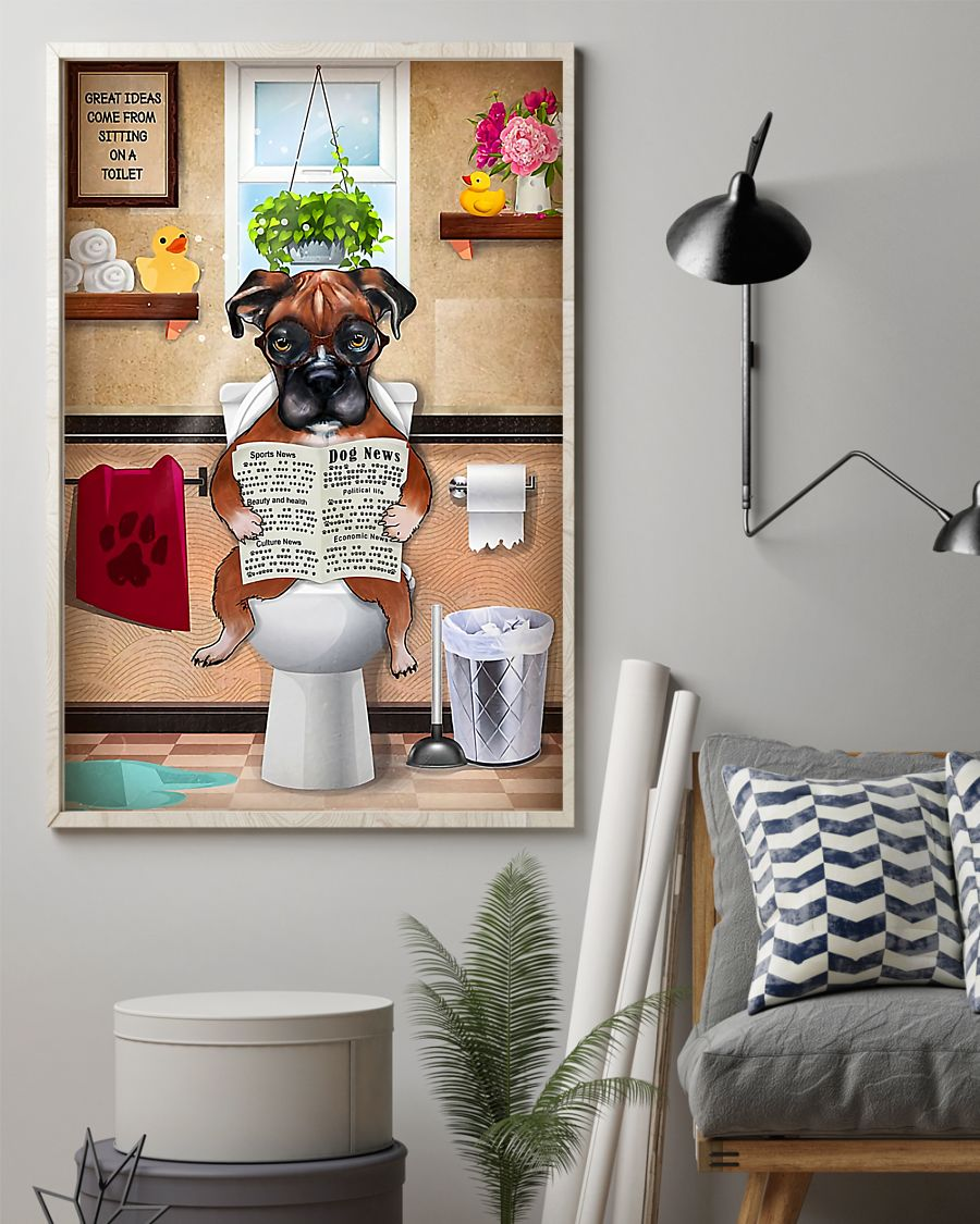 great ideas boxer sitting on toilet poster 2