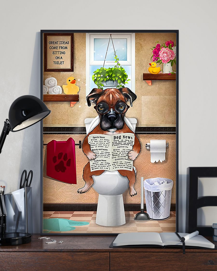 great ideas boxer sitting on toilet poster 3