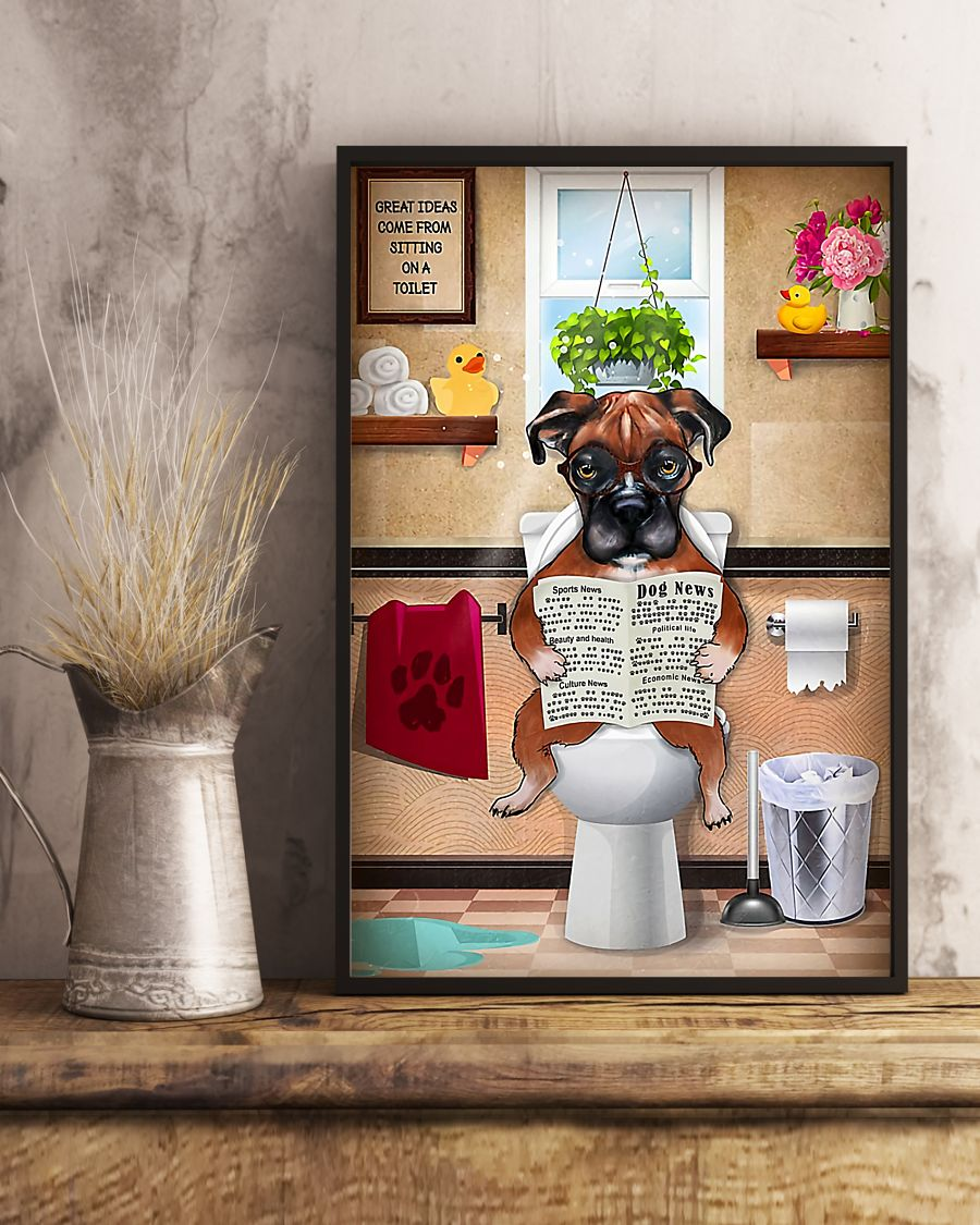 great ideas boxer sitting on toilet poster 5