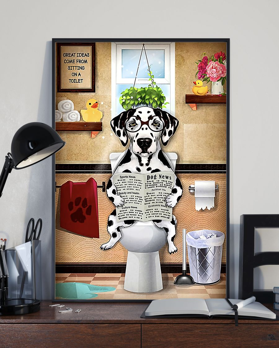 great ideas dalmatian sitting on toilet poster 4