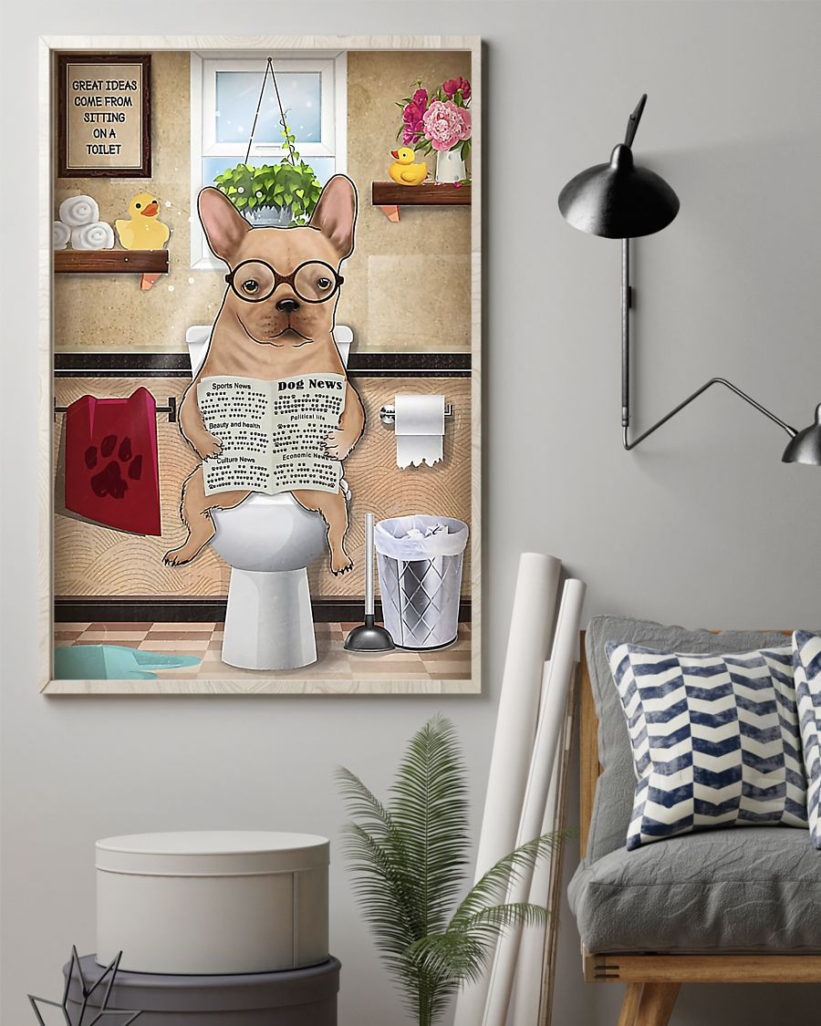 great ideas french bulldog sitting on toilet poster 2
