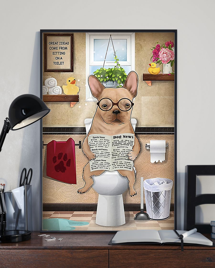 great ideas french bulldog sitting on toilet poster 3