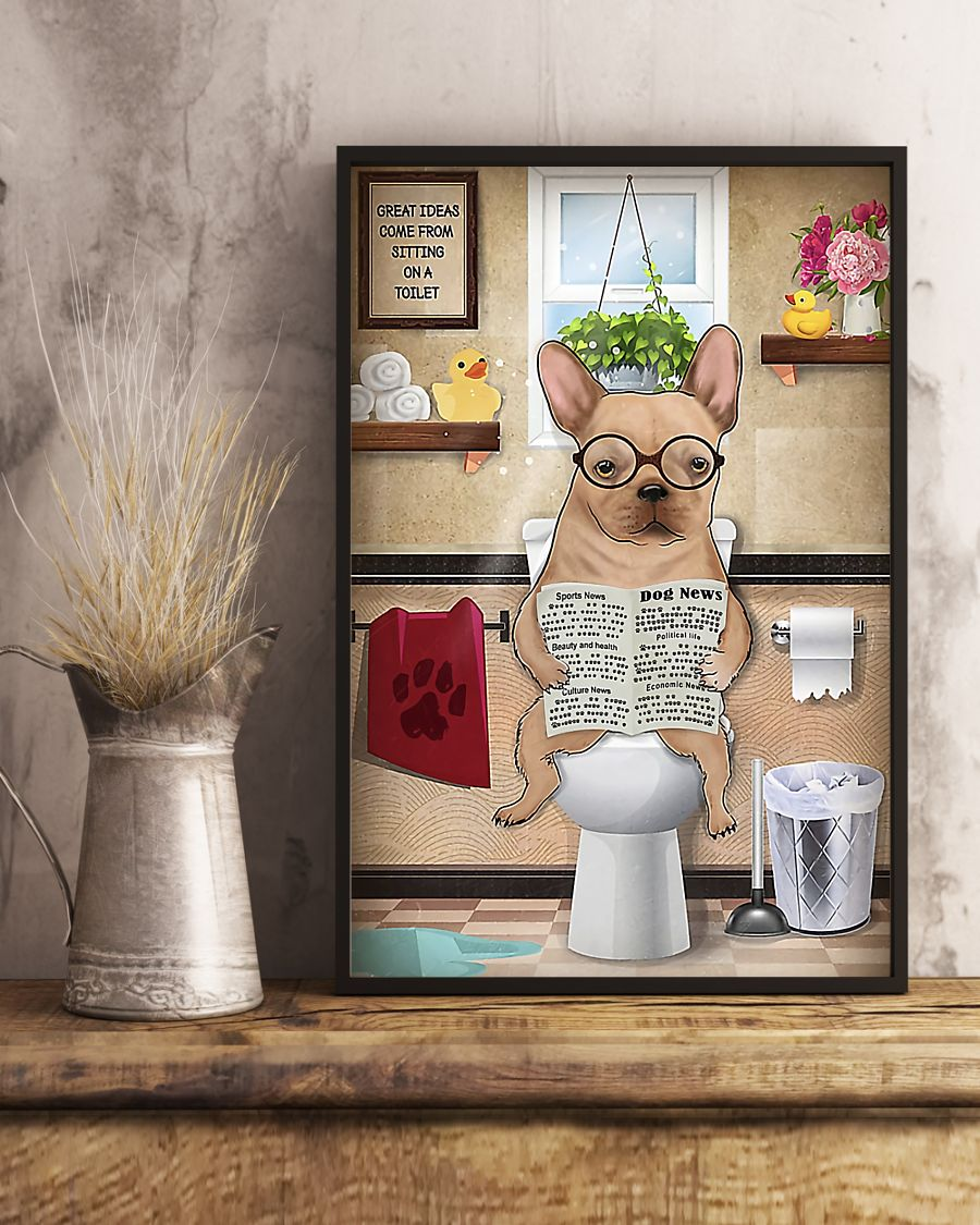 great ideas french bulldog sitting on toilet poster 5