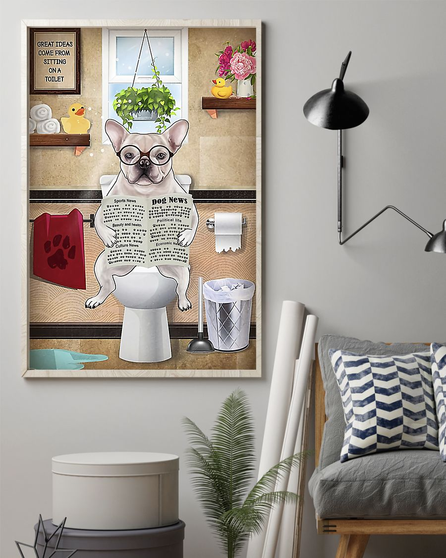 great ideas frenchie bulldog sitting on toilet poster 2
