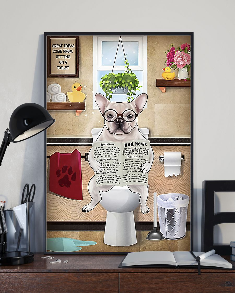 great ideas frenchie bulldog sitting on toilet poster 4