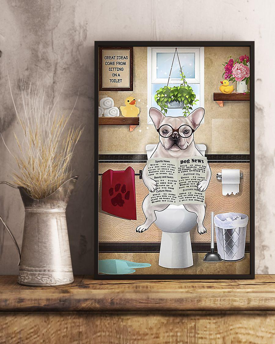great ideas frenchie bulldog sitting on toilet poster 5