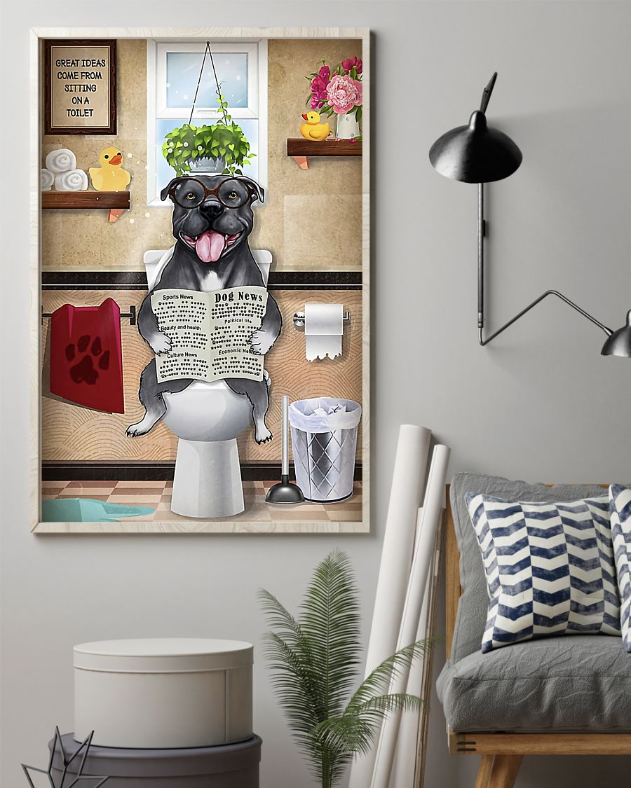 great ideas staffordshire bull terrier sitting on toilet poster 2