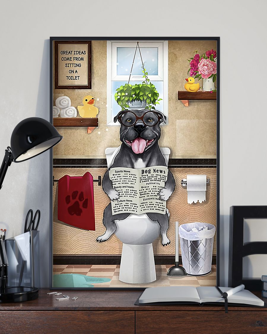 great ideas staffordshire bull terrier sitting on toilet poster 4