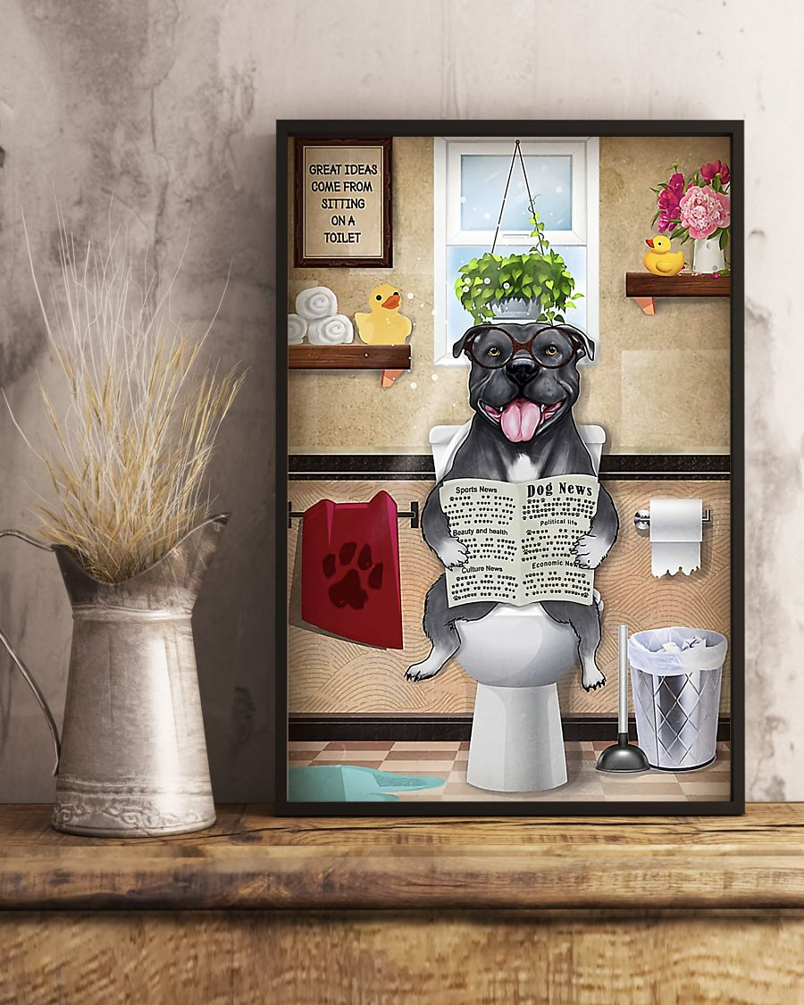 great ideas staffordshire bull terrier sitting on toilet poster 5