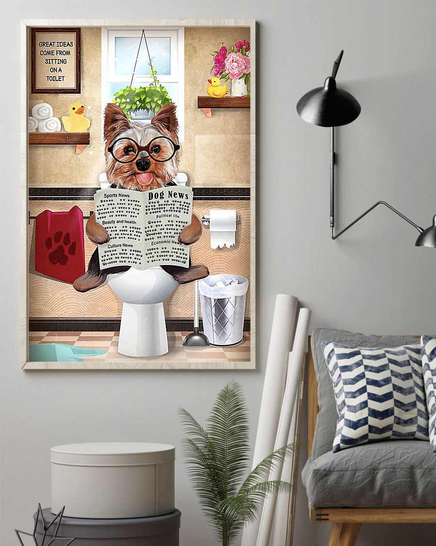 great ideas yorkshire terrier sitting on toilet poster 2