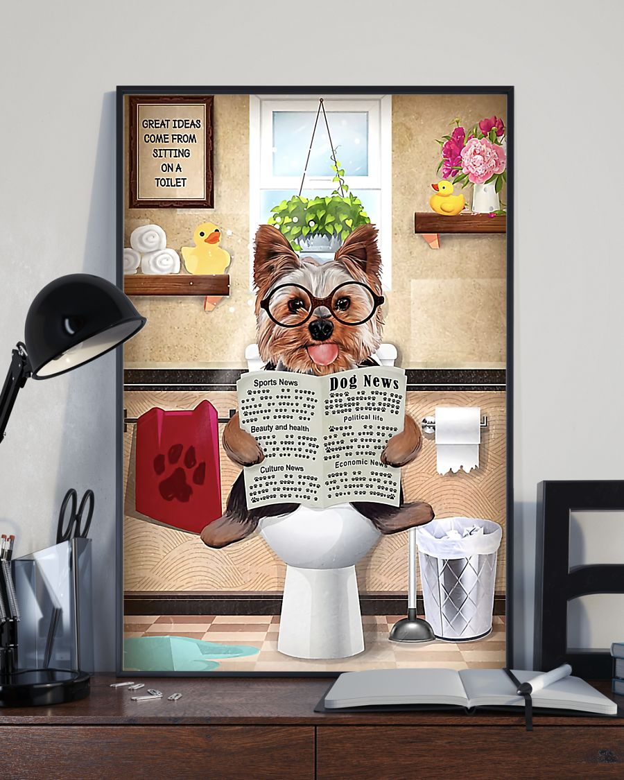 great ideas yorkshire terrier sitting on toilet poster 4
