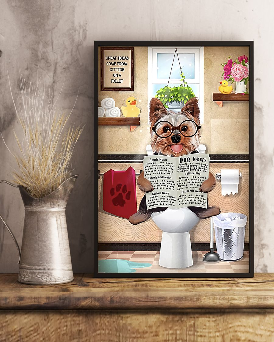 great ideas yorkshire terrier sitting on toilet poster 5
