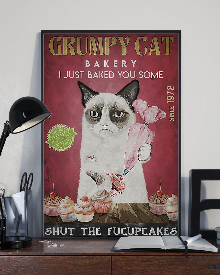 grumpy cat bakery i just baked you some shut the fucupcakes vintage poster 3