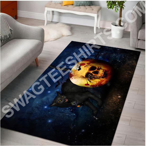 halloween skull and black cat all over printed rug 2(1)