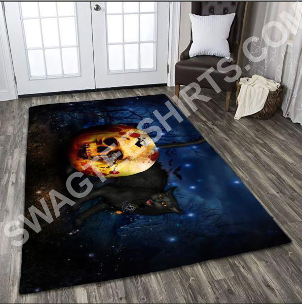 halloween skull and black cat all over printed rug 3(1) - Copy