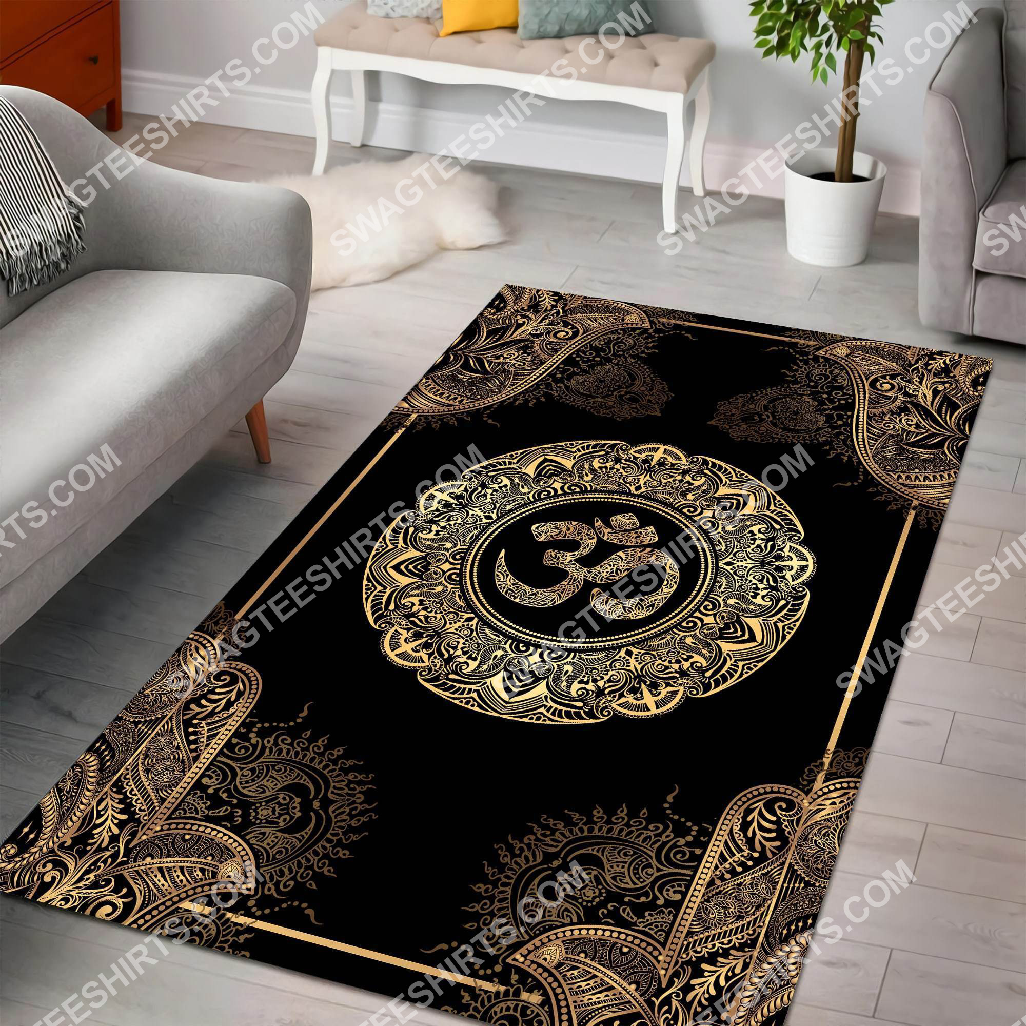 hamsa buddha art pattern all over printed rug 2(1) - Copy
