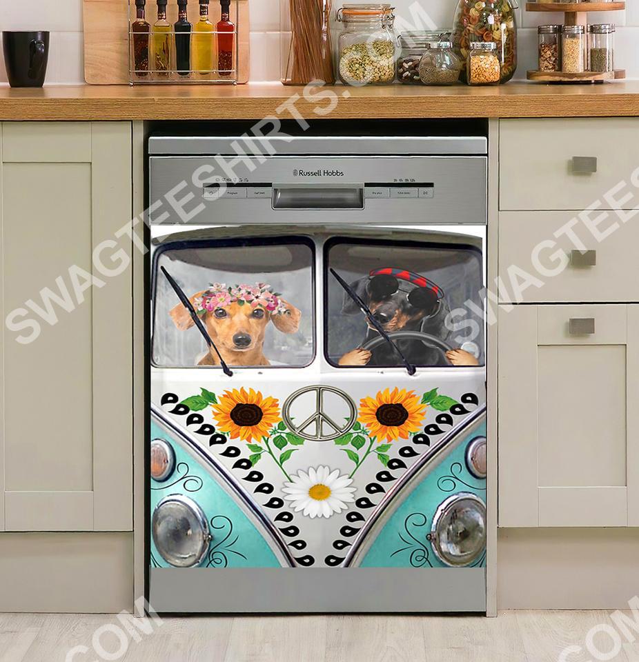 hippie dachshund dog kitchen decorative dishwasher magnet cover 2