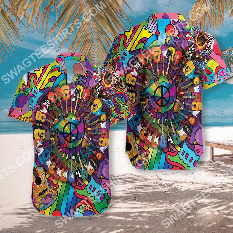 hippie peace love music all over printed hawaiian shirt 4(1)