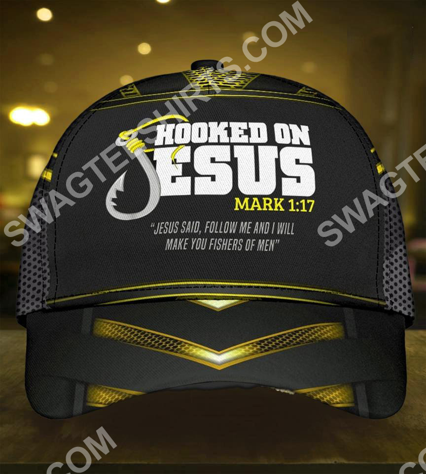 hooked on Jesus fishers all over printed classic cap 5(1)