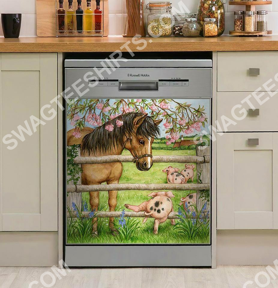 horse and pig farm life floral kitchen decorative dishwasher magnet cover 2