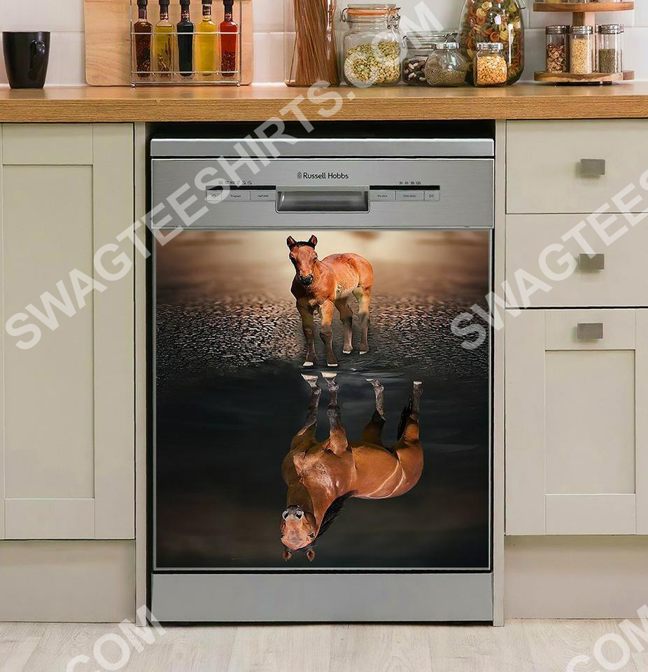 horse reflection water kitchen decorative dishwasher magnet cover 2