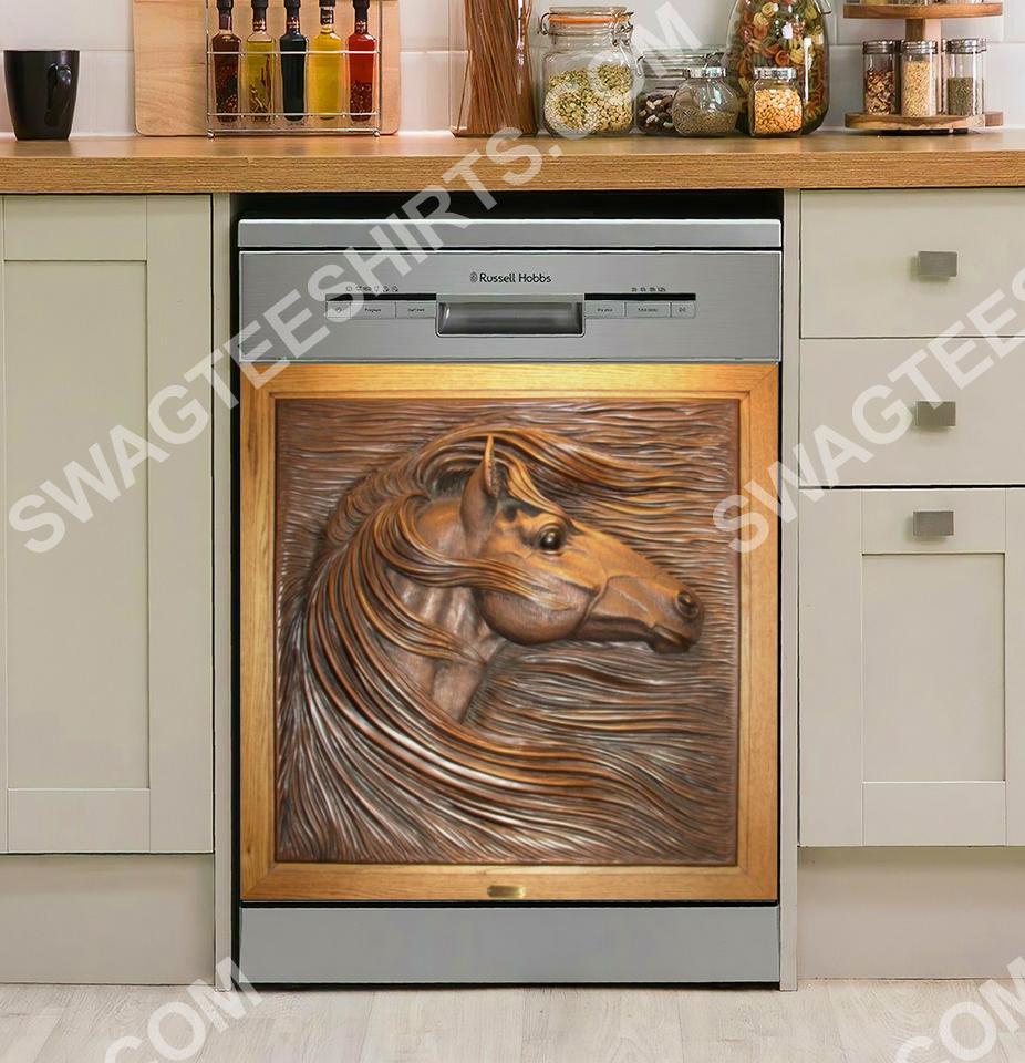 horses vintage kitchen decorative dishwasher magnet cover 2