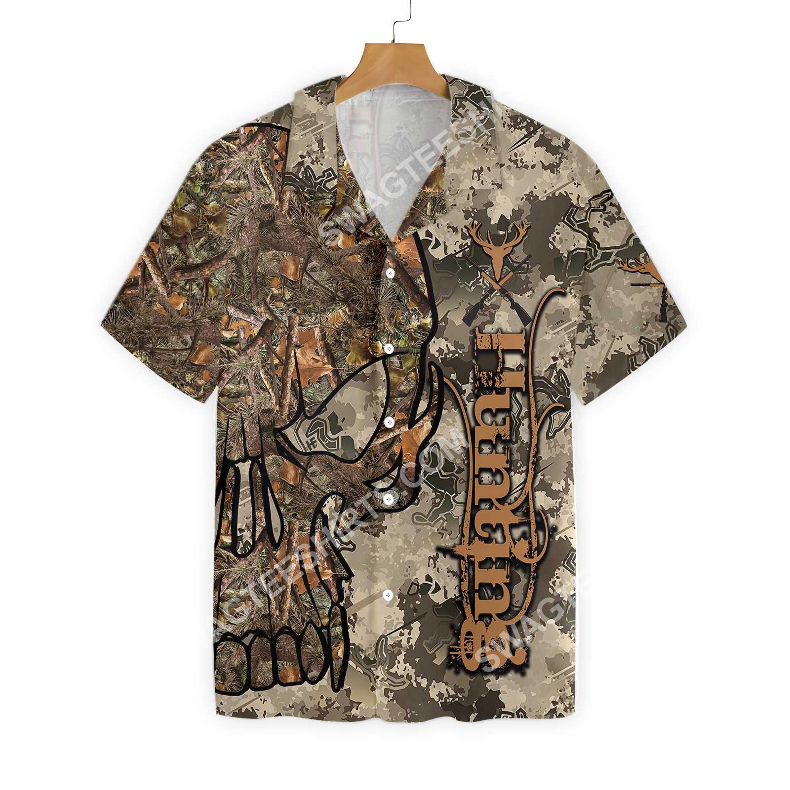 hunting skull camo pattern all over printed hawaiian shirt 3(1)