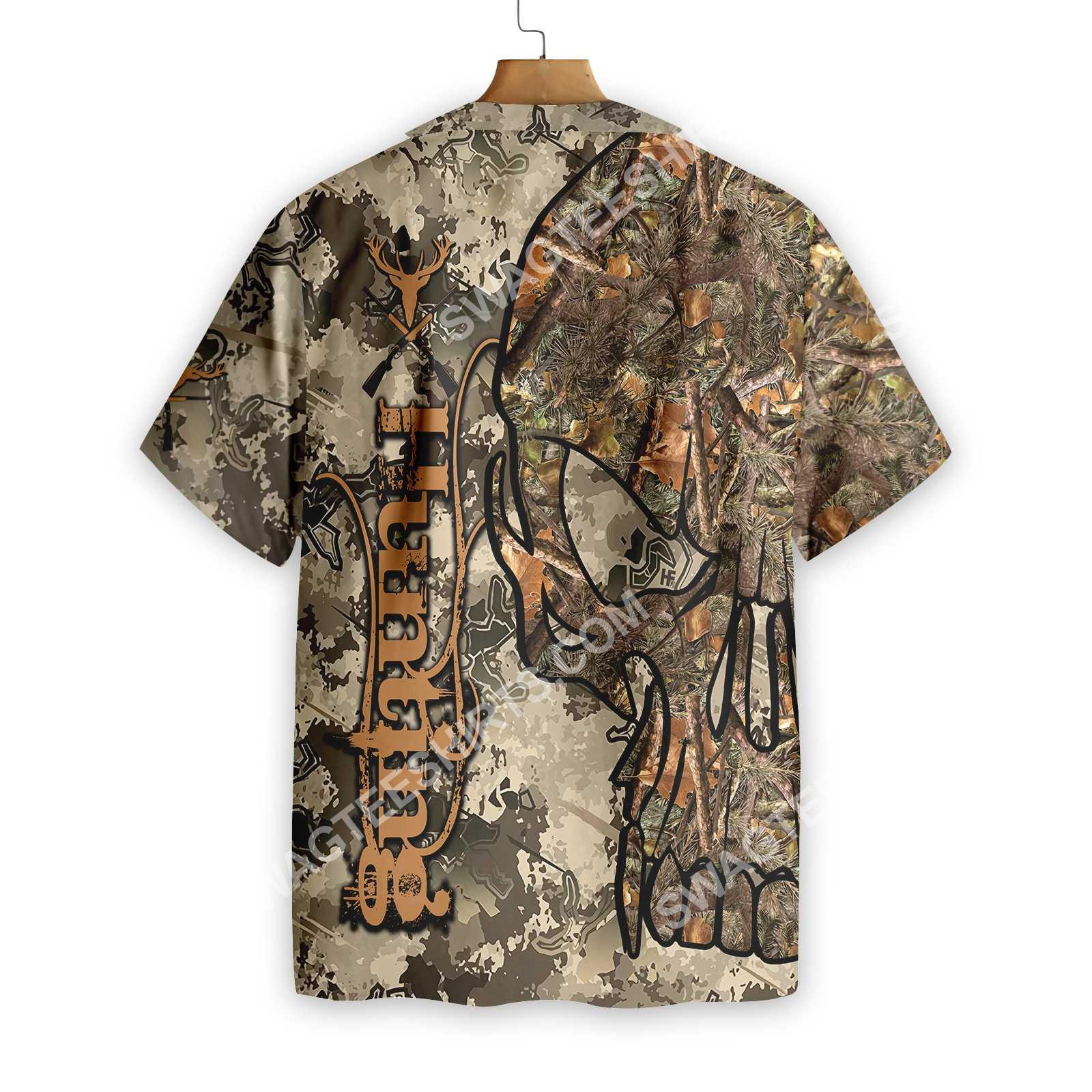 hunting skull camo pattern all over printed hawaiian shirt 4(1)