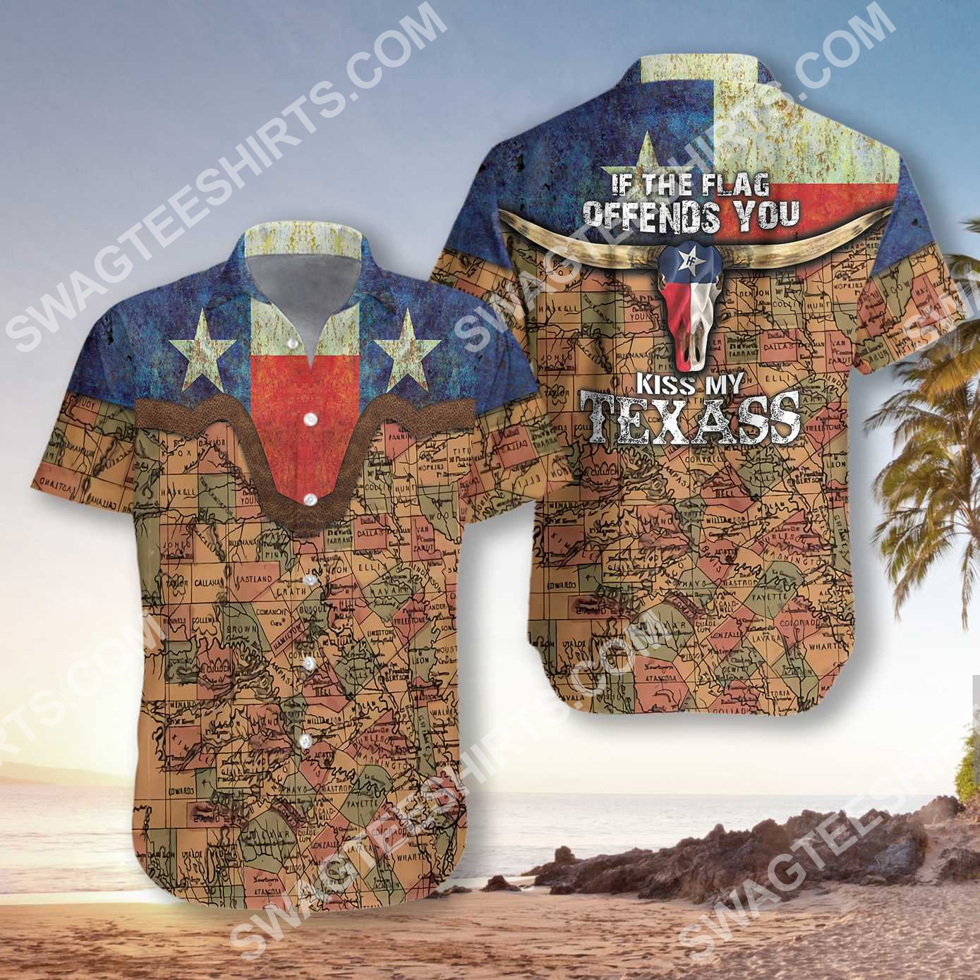 if the flag offends you kiss my texass all over printed hawaiian shirt 2(1) - Copy
