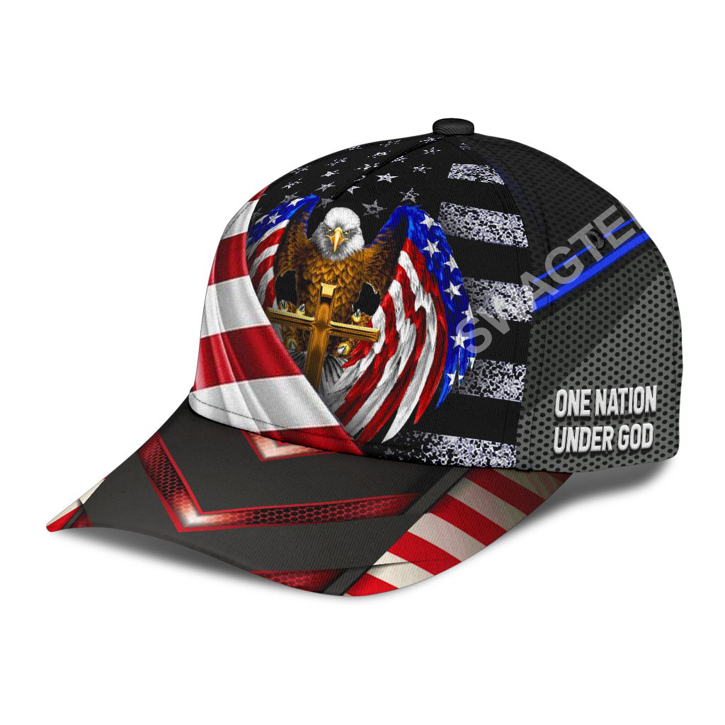 independence day one nation under God all over printed classic cap 3(1)