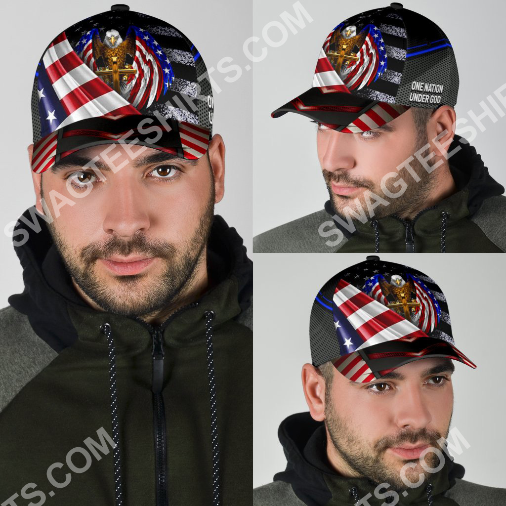 independence day one nation under God all over printed classic cap 4(1)
