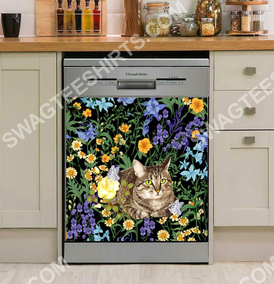 mysterious cat and flower kitchen decorative dishwasher magnet cover 2 - Copy