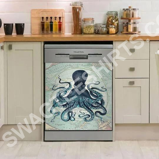 octopus and sea map kitchen decorative dishwasher magnet cover 2