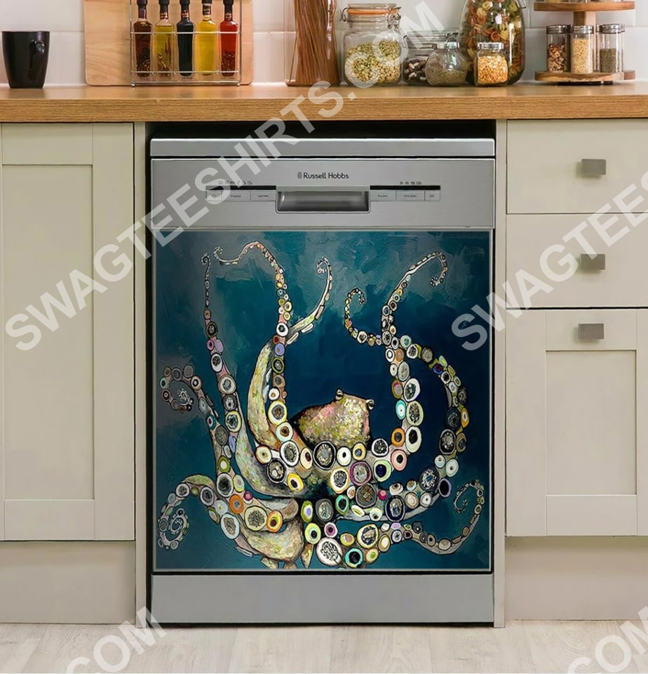 octopus in the deep blue sea vintage kitchen decorative dishwasher magnet cover 2