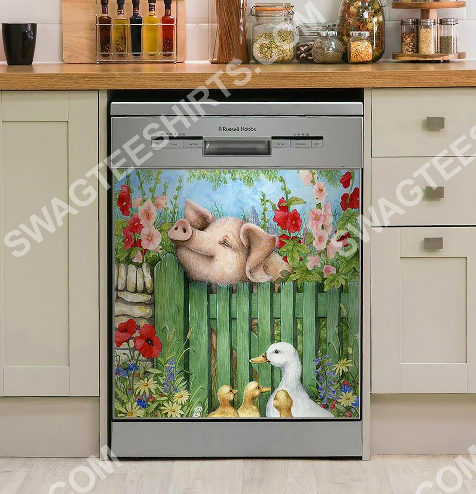 pig and duck farm life kitchen decorative dishwasher magnet cover 2