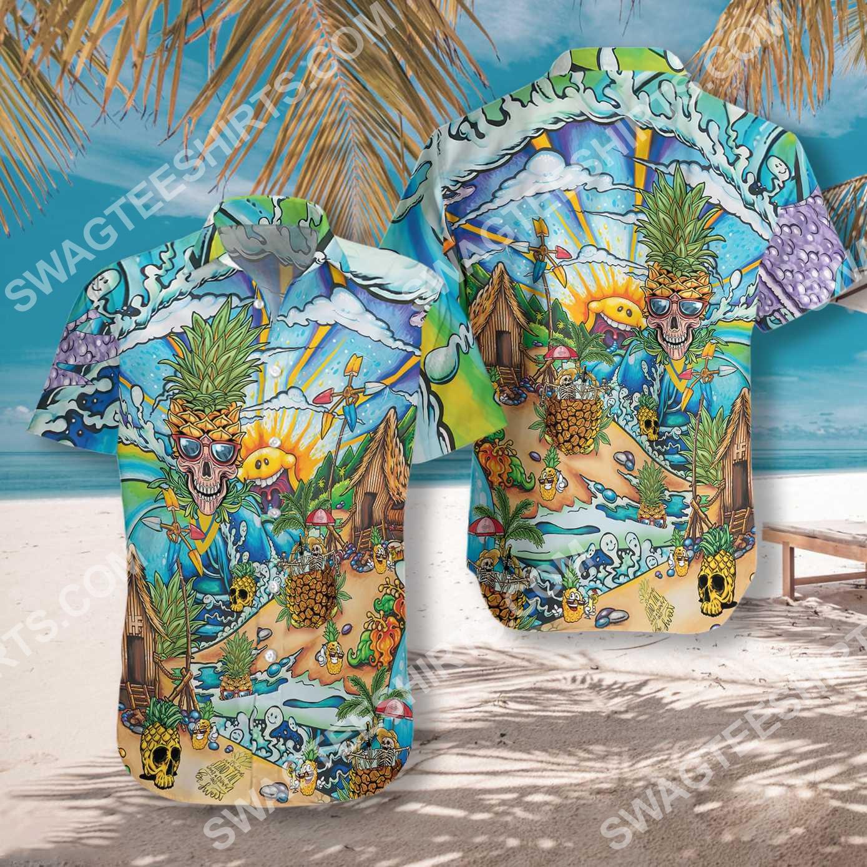 pineapple skull beach all over printed hawaiian shirt 2(1)