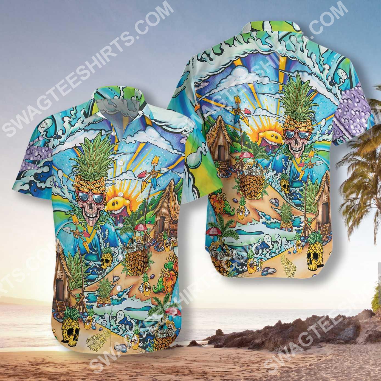 pineapple skull beach all over printed hawaiian shirt 3(1)