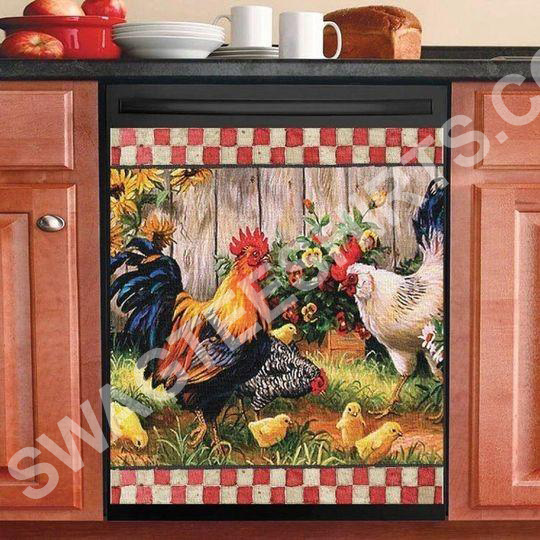 rooster chicken and flower kitchen decorative dishwasher magnet cover 2