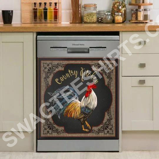 rooster chicken farm life kitchen decorative dishwasher magnet cover 2