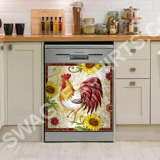 rooster chicken sunflower kitchen decorative dishwasher magnet cover 2