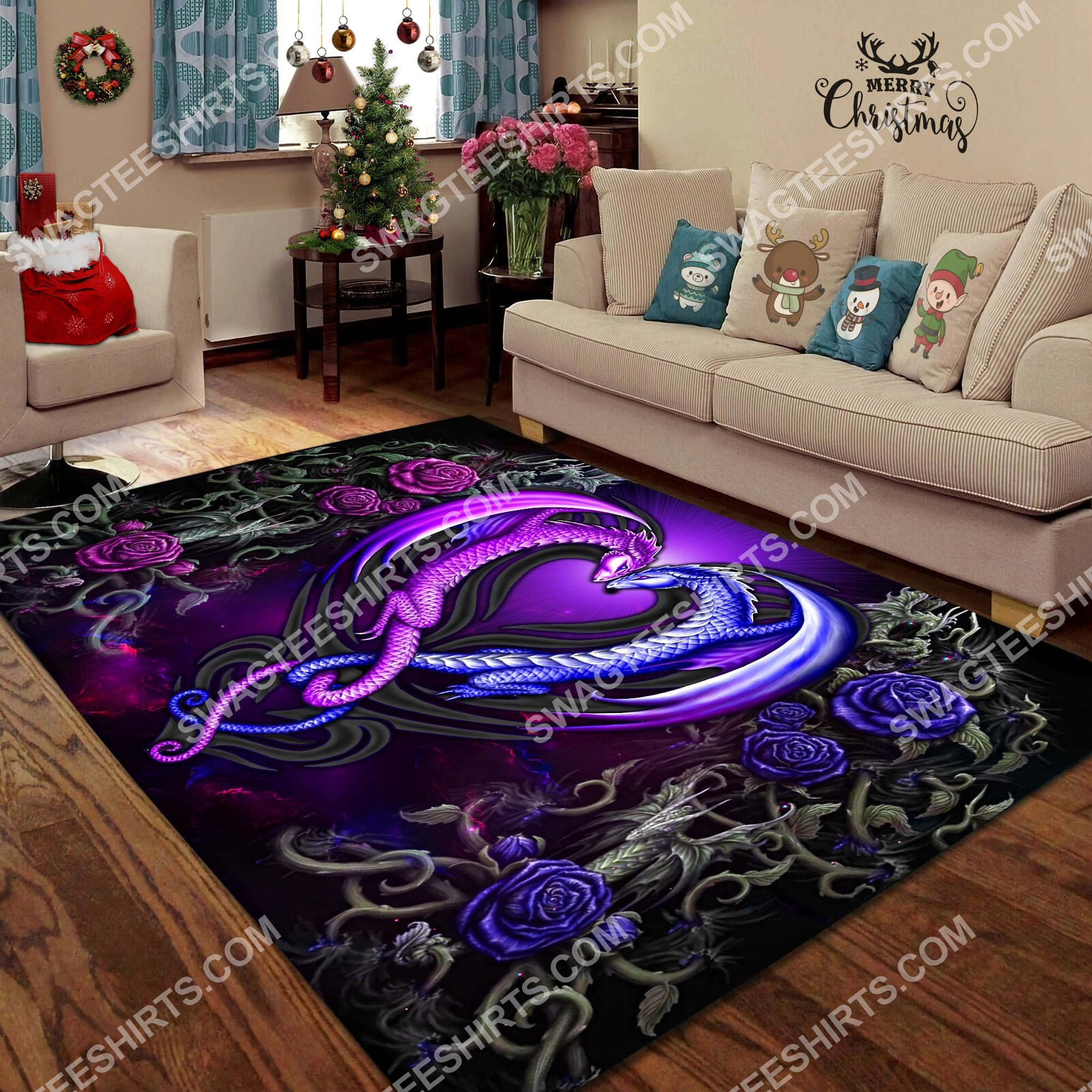 roses dragon couples all over printed rug 2(1)