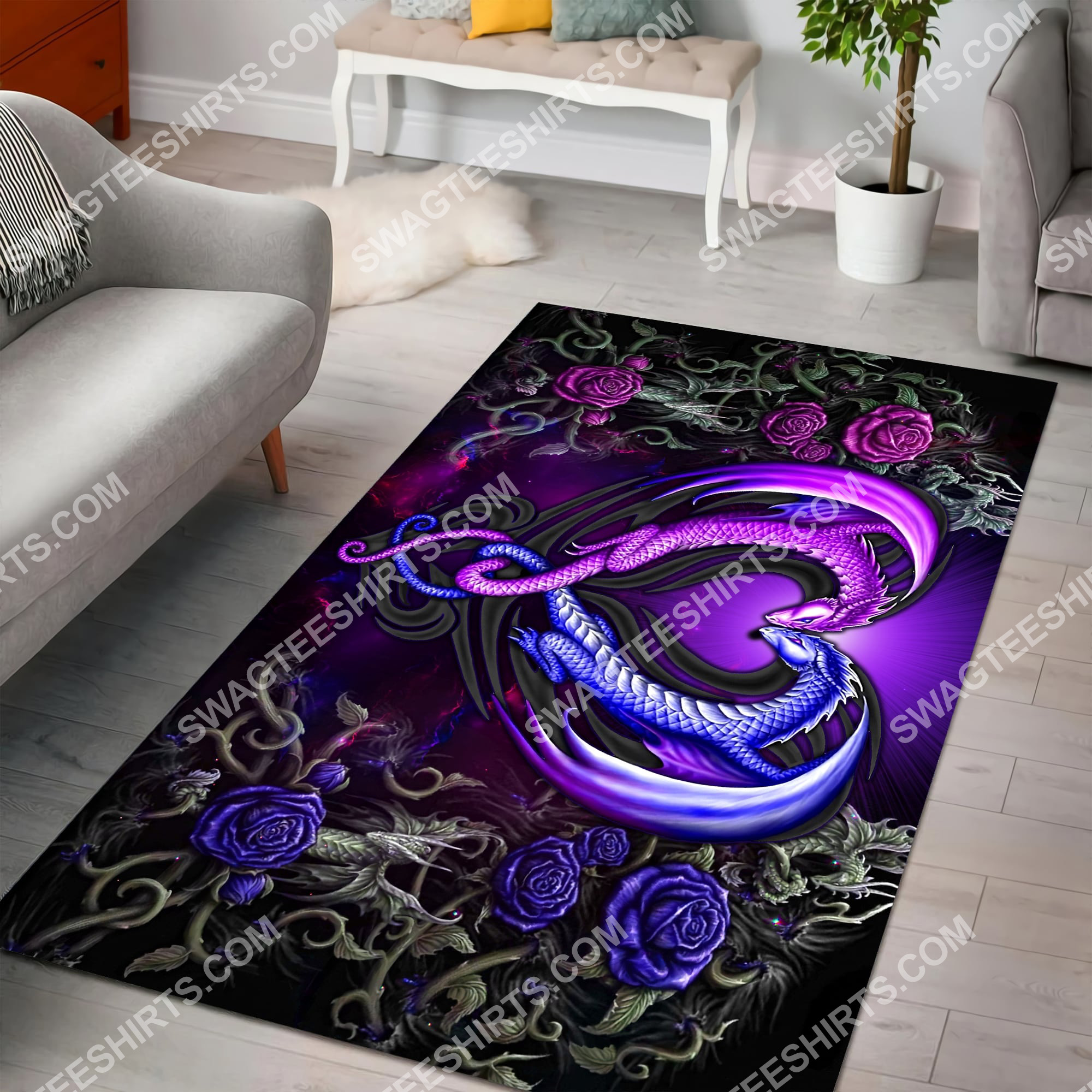 roses dragon couples all over printed rug 3(1)