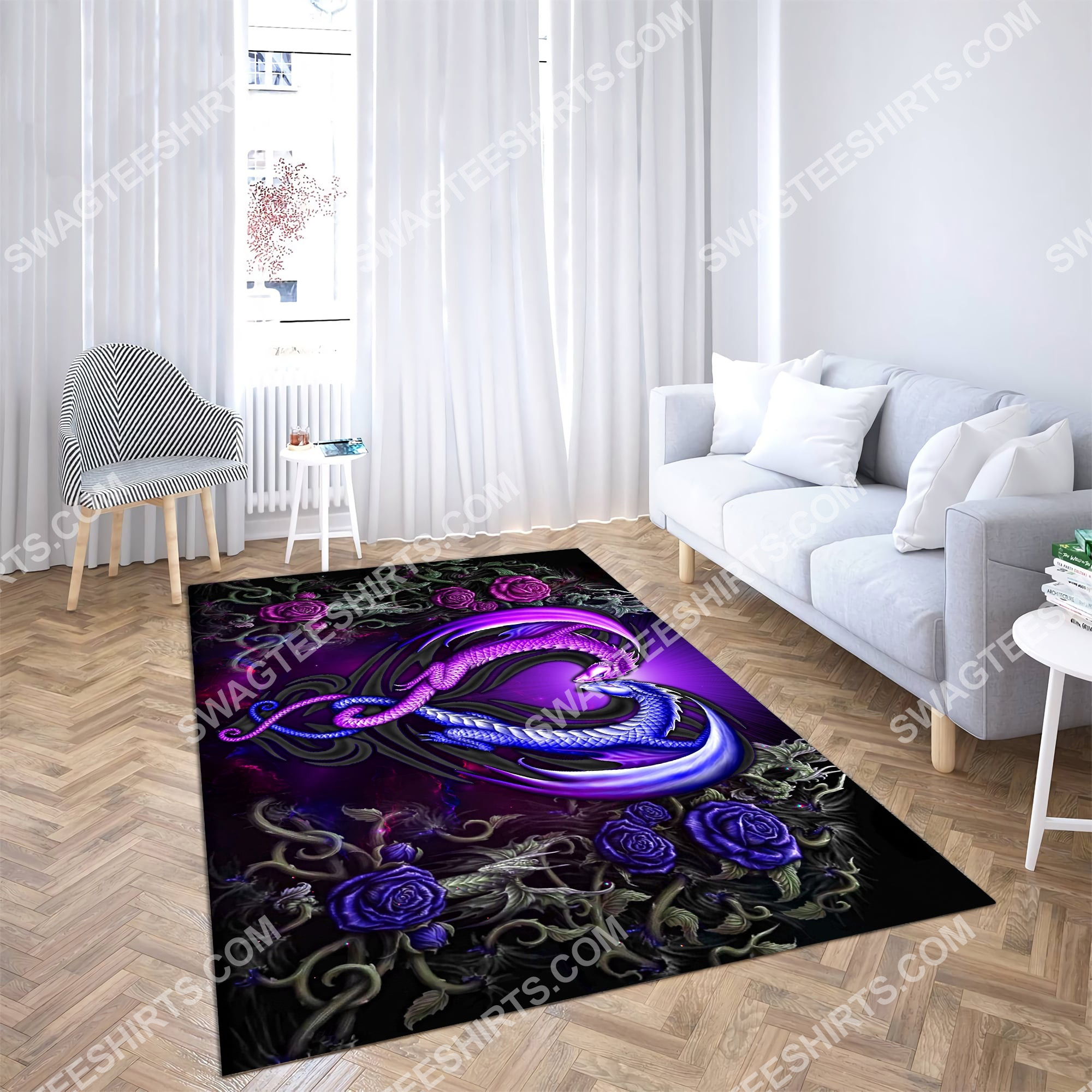 roses dragon couples all over printed rug 5(1)