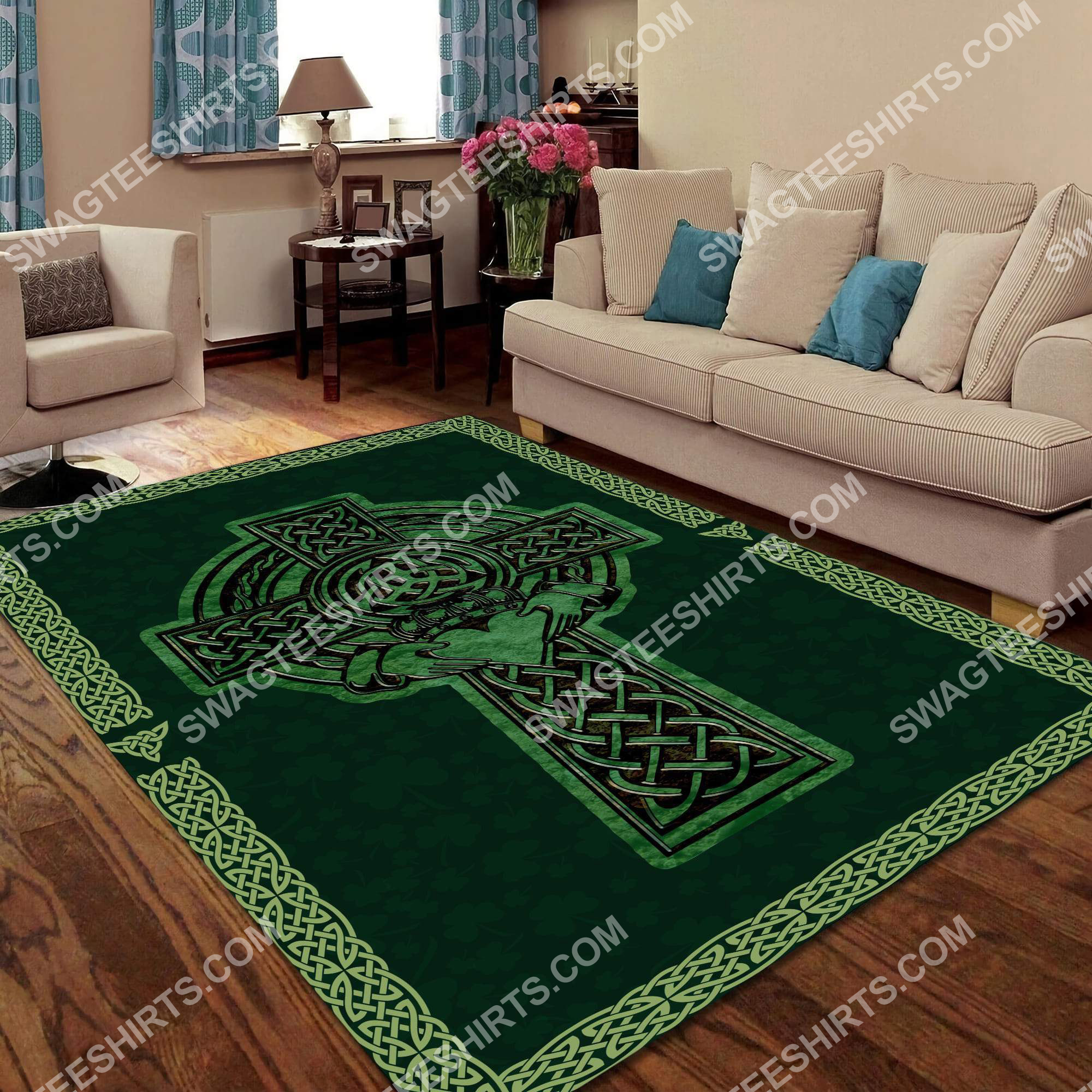 saint patrick's day cross all over printed rug 3(1)