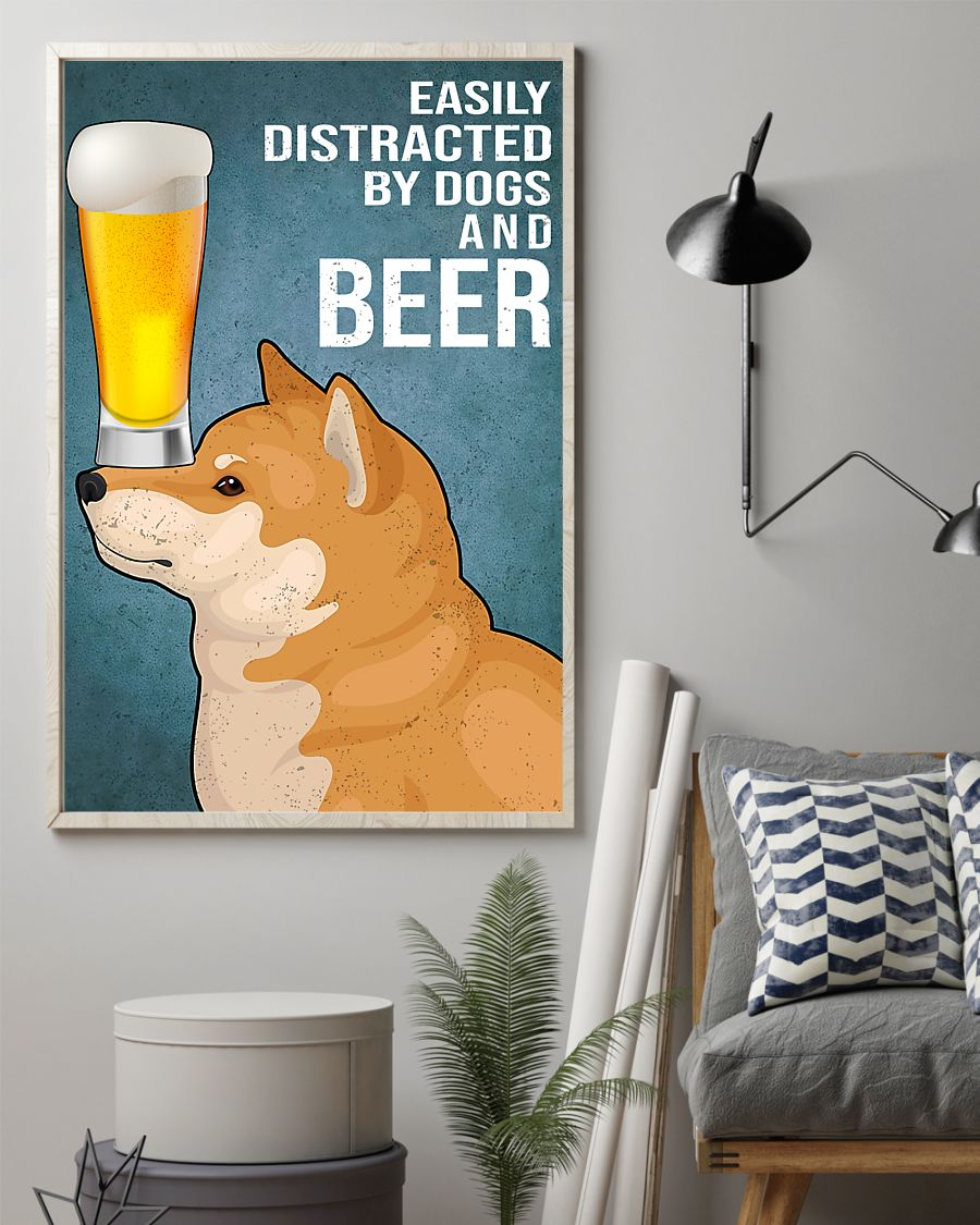 shiba inu easily distracted by dogs and beer vintage poster 2