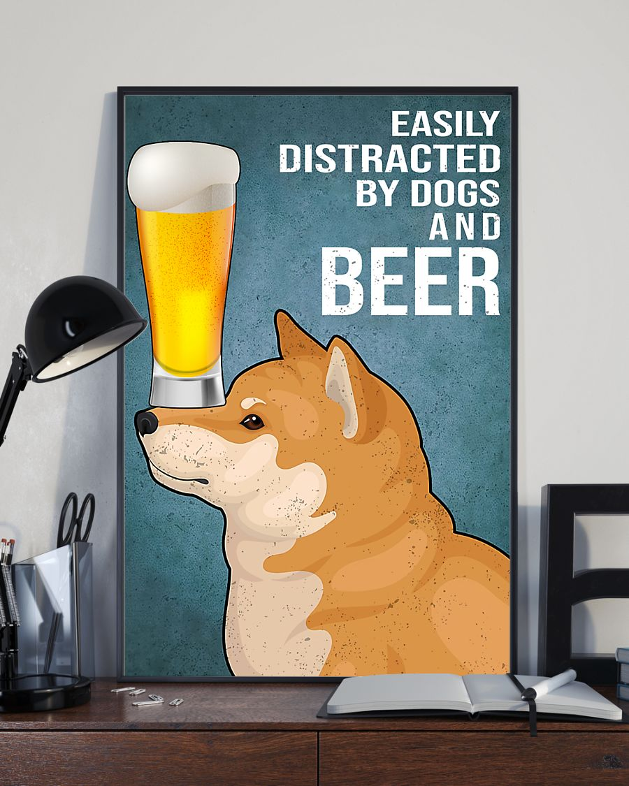 shiba inu easily distracted by dogs and beer vintage poster 3