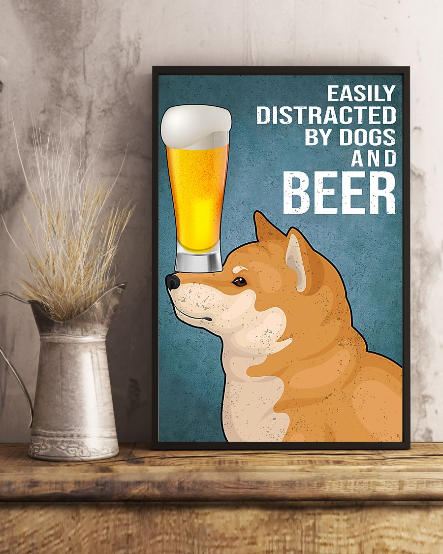 shiba inu easily distracted by dogs and beer vintage poster 5